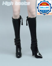 "1/6 High Heel Boots BLACK For 12"" PHICEN Hot Toy TBLeague Female Figure ❶USA❶"