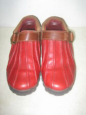 BASS WOMEN'S SLIP ON BURGUNDY RED LEATHER CLOGS SHOES SIZE 7M