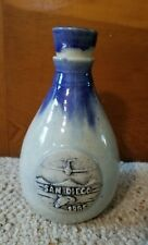 "Art Pottery Sake Decanter Wine Jug ""San Diego 1985"" Blue Drip Jet Whale Mountain"