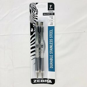 Lot Of 4 Zebra F-301 Ballpoint Pen Black Ink Fine 0.7mm Durable Stainless Steel