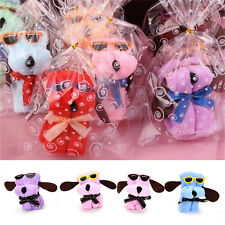 Cute Dog Cake Shape Square Towel Cotton Washcloth Wedding Birthday Gifts EF