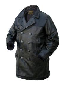 Noble House Herren U-Boot Mantel Lederjacke Stierleder Marine Jacke schwarz neu