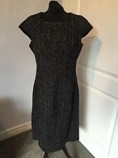 Womens Yves Saint Laurent YSL Black Speckle Wool Silk Blend Shift Dress UK 14 42