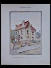 VILLA A MELUN - 1908 - GRANDE PLANCHE COULEUR - EMILE POIGNANT