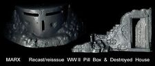 Marx reissue WWII pillbox and destroyed house in gray  for toy soldiers  D