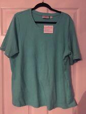 NWT Quacker Factory Golden Tones Elbow Sleeve Top T Shirt Aqua Size XL