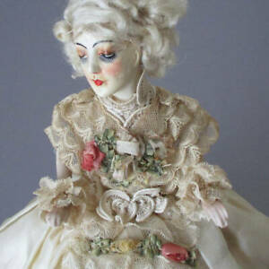 Antique Wax + Porcelain Half Doll TEA COZY Plush Padded SILK Ribbonwork + LACE