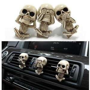Three Wise Skeleton 10cm See No Hear No Evil Gothic Skull Statue Nemesis G 1Y5T