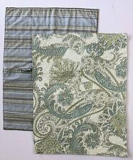 2 Ridgefield Home Standard Quilted Pillow Shams Paisley Floral Stripe Green Blue
