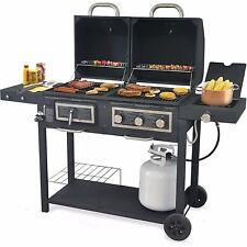 HYBRID BBQ Grill GAS & CHARCOAL 24,000 BTU Cast Iron Grid Stainless Steel Burner