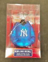 MLB Glass Christmas Ornament New York Yankee Hoodie Kurt Adler Blue GREAT GIFT