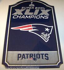 """New England Patriots 11x17"""" Wood Sign 2014 Super Bowl XLIX 49 Champions Champs"""