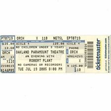 Robert Plant Concert Ticket Stub Oakland California 7/19/05 Zoso Led Zeppelin