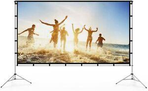 """Vamvo 100"""" Video Projector Screen + Stand/Bag, Outdoor/Indoor TV, Movie, Cinema."""