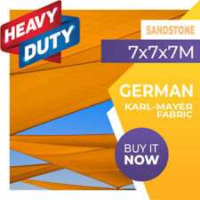 SHADE SAIL TRIANGLE SANDSTONE 7m x 7m x 7m SUN AWNING 7x7x7 7x7x7m 7 x 7 x 7