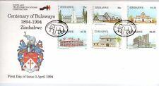 ZIMBABWE, 1994 CENTENARY OF BULAWAYO, SG 870-75 , ON ILLUSTRATED FDC