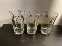 Vintage Mid Century Federal Barware 3 Glasses Gold Leaf Highball Tumbler