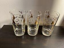 Vintage Mid Century Federal Barware 3 Glasses Gold Leaf Highball Tumbler