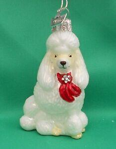Kurt Adler Noble Gems Glass Christmas Tree Decoration Dog  - White Poodle