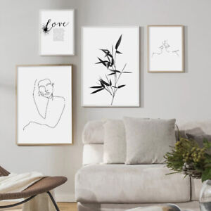 Bamboo Line Drawing Black White Art Poster Love Quotes Abstract Canvas Print