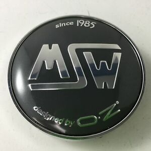 1 # J MSW Black with Chrome Custom Wheel Center Cap # PCF56