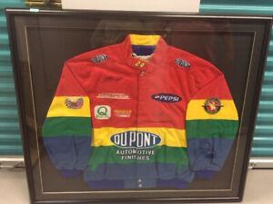 """Jeff Gordan Autographed Team """" Rainbow """" Jacket Framed"""