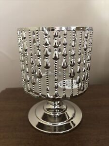 BATH & BODY WORKS BEADED PEDESTAL CANDLE HOLDER LARGE 3 WICK SILVER CHROME NEW