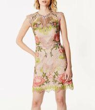 BNWT Karen Millen Embroidered Pink Floral Wedding Prom Party Mini Dress UK 8
