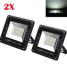 2Pcs 100W 85-265V Cool White High Power LED Flood Light Lamp Outdoor Waterproof