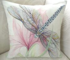 Shabby Chic Pastel Pink Blue Green Dragonfly Cotton Blend Cushion Cover FREEPOST