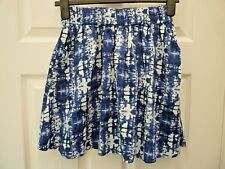 H&M Ladies Size 10 Blue White Camouflage Pull On Summer Cotton Mini Skirt NWT