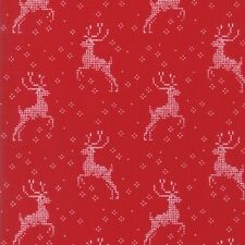 Moda Nordic Stitches Winter Reindeer Red 39712 15 Quilting Cotton Fabric