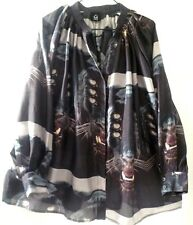 DEAD MEAT EYES OF BLACK PANTHER PRINTED BLOUSE SIZE L