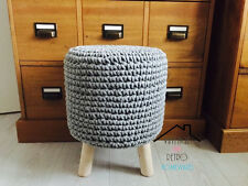 Grey Round Knitted Crochet Foot stool Wooden Legs Scandi Modern Nursery Pouffe