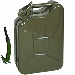 10L METAL JERRY CAN GREEN CAR STORAGE FUEL PETROL DIESEL CONTAINER & FLEXI SPOUT