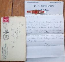 Cover & 1910 Letterhead w/Cigar Band: 'C. E. Melhorn Leaf Tobacco' - Hanover, PA