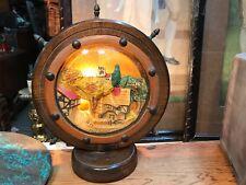 Vintage English Oak & Brass Boat Wheel Table Lamp Gingerbread Porcelain Centre