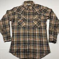 🇺🇸 Vintage Levis Big E Blue Tab Plaid Western Pearl Snap Shirt Sz M WPL-423