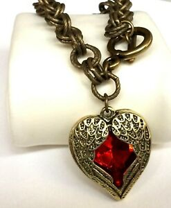 "Gold Heart Angel Wings Bracelet 8"" Red Crystal Chunky Goth Gothic Vintage Plated"