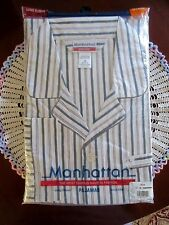 Vintage Manhattan Mens Long Sleeve and Leg Pajamas 3X Grey Stripe New In Package