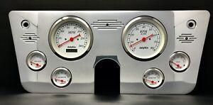 """1967 1968 1969 1970 1971 1972 Chevy Truck 6 Gauge Dash Panel 5"""" White"""
