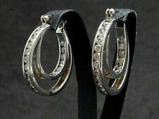 Ohrringe earrings 925 SILBER Silver boucle oreille Zirkonia Kreolen Creolen