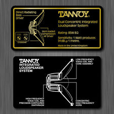 Tannoy Dual Concentric Integrated Loudspeaker System Label Sticker