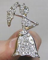 Vintage Jewelry Brooch Figural Clear Rhinestone Lady with Parasol and Baguettes