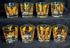 Libbey FLUTTER Orange & 22K Gold Trim BUTTERFLY Set of 8 OLD FASHION Tumblers