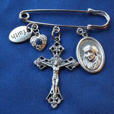 Mother Teresa Saint Medal  Safety Pin Cross
