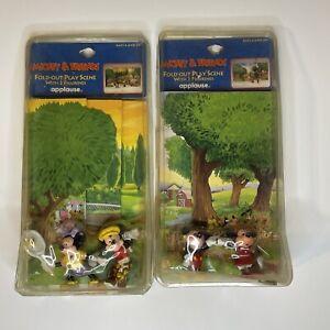 Vintage Walt Disney figures Lot Mickey Mouse Applause USA W/ Foldout Play Scene