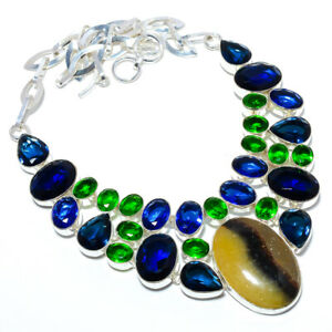 """Septerian Stone & Multi 925 Sterling Silver Handmade Necklace 17.99"""" N1640-1"""