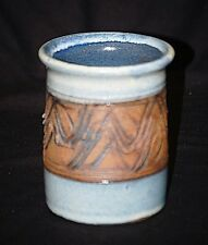 Vintage Style Stoneware Art Pottery Blue Abstract Utensil Crock Jar Signed Sauer