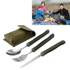 3in1 Outdoor BBQ Travel Camping Pocket Folding Knife Fork Spoon Utensils Cutlery